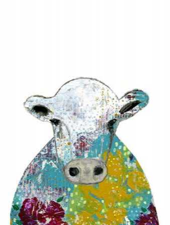 Abstract Floral Cow