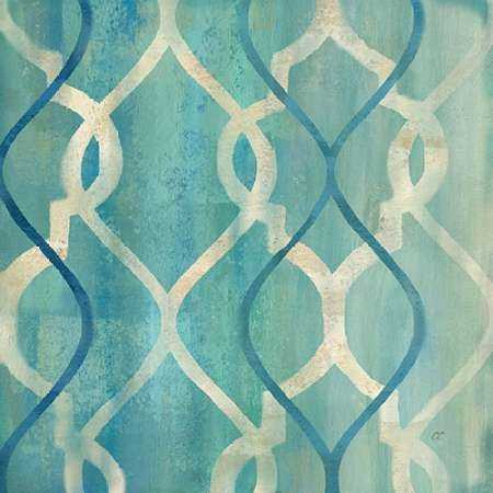 Abstract Waves Blue-Gray Tiles II