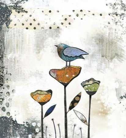 Bird on Three Flowers