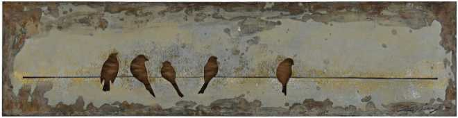 Birds on a Line, Metal Art, 47x12x1.2