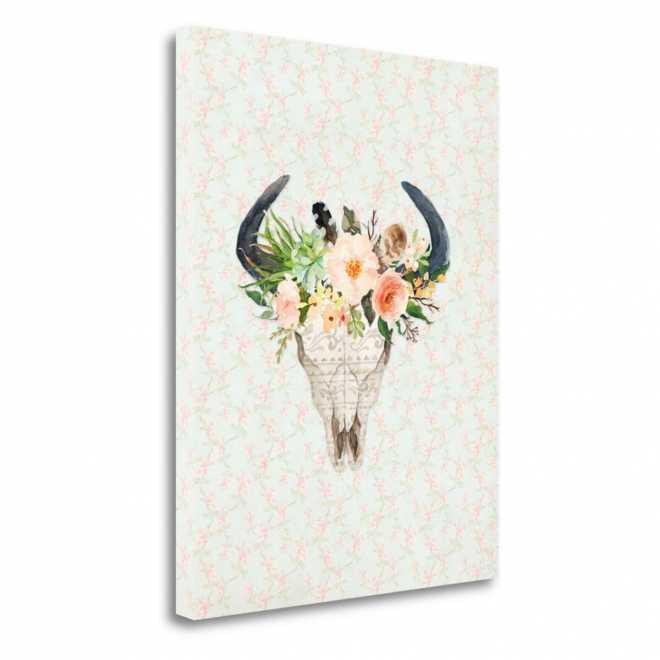 Bull Scull on Floral, 21x36, Gallery Wrap Canvas, SBTA1295-2136c, J