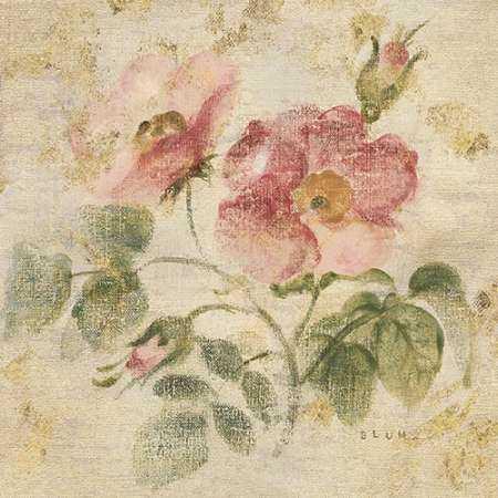 Burgundy Rose on Antique Linen Light Gold