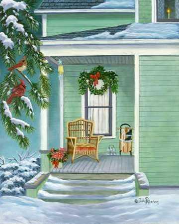 Cardinals and Christmas Porch