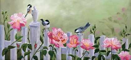 Chickadees and Pink Roses