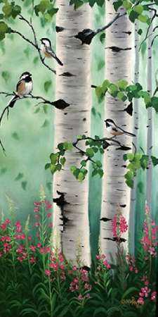 Chickadees in the Birch Trees