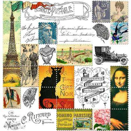 Eiffel Tower Stamps Green