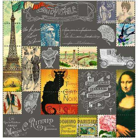 Eiffel Tower Stamps White