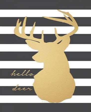 Faux Gold Hello Deer
