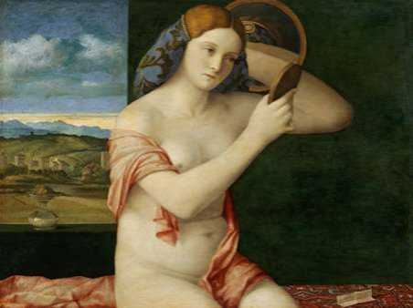 Giovane donna allo specchio