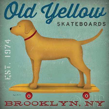 Golden Dog on Skateboard