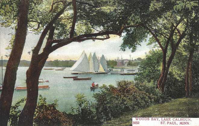 Lake Calhoun Woods Bay, Historical Art Postcard