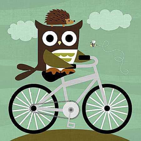 Owl and Hedgehog on Bicycle