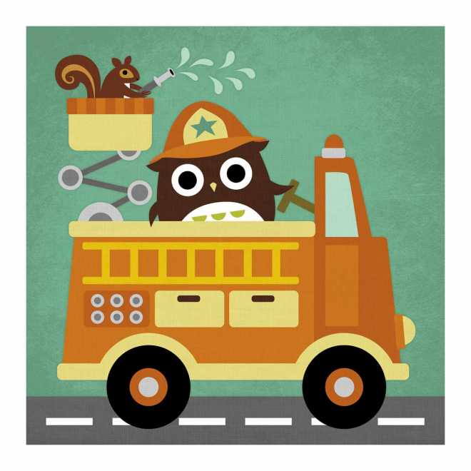 Owl in Firetruck and Squirrel