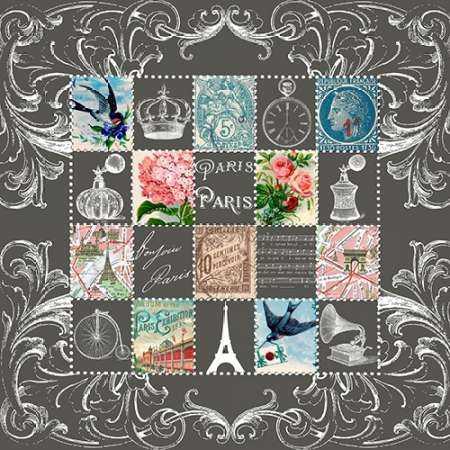 Paris Stamps Blue