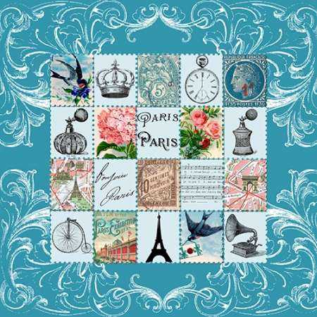 Paris Stamps Grey