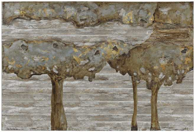 River of Trees, Metal Art on Wood Lath