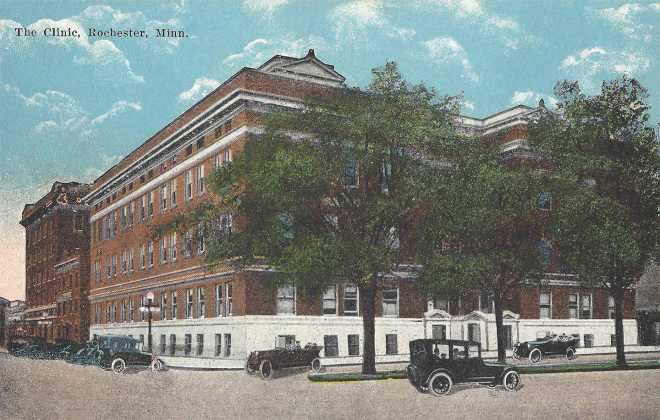 St. Mary's Mayo Clinic Rochester Minnesota, Historical  Photograph hand colored postcard.