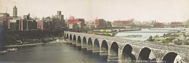 Stone Arch Bridge, Milling District, St. Anthony Falls, Minneapolis, Minnesota, 1907