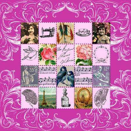Vintage Stamps Pink
