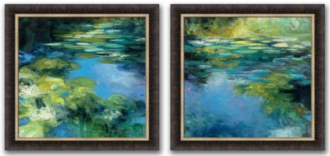 Water Lilies, Set of two pictures, by Julia Purinton