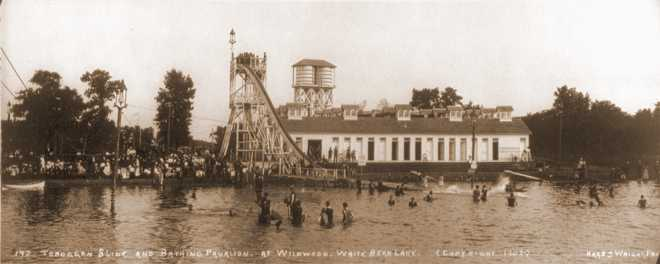 Wildwood Bathing Pavilions, Toboggan Slide, White Bear Lake, 1902, Historical Photograph