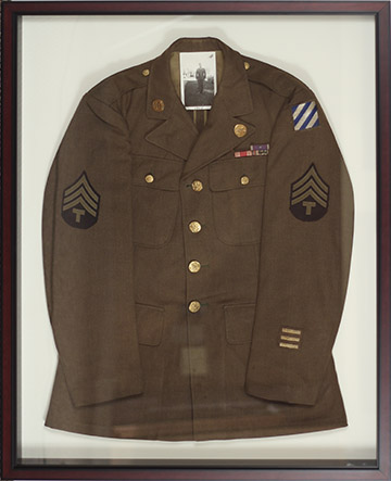 Army Uniform Jacket in a custom shadowbox picture frame.