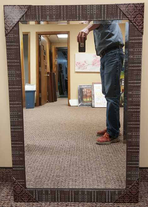 Mirror 30x42 in a distressed brown frame