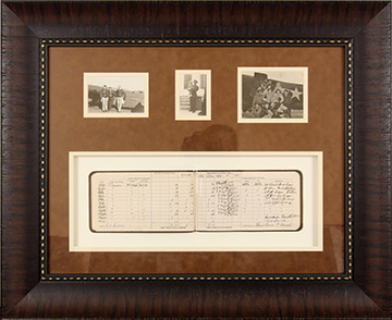 World War II Pilot's log book shadowbox frame